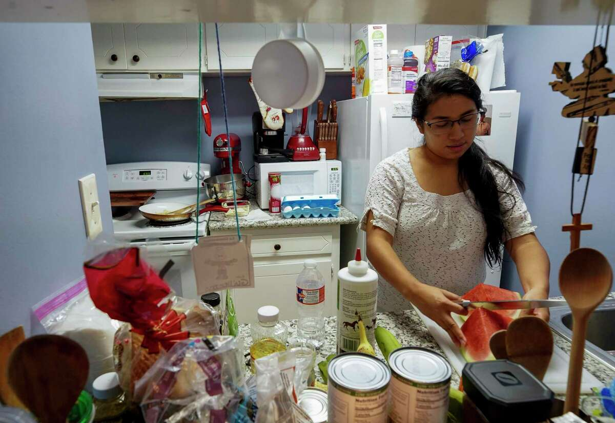 Lorena prepares breakfast for her father every morning. At one point, she was working both a full-time and part-time job.