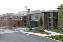 The Northside of New Canaan Town Hall is one entrance to the building.