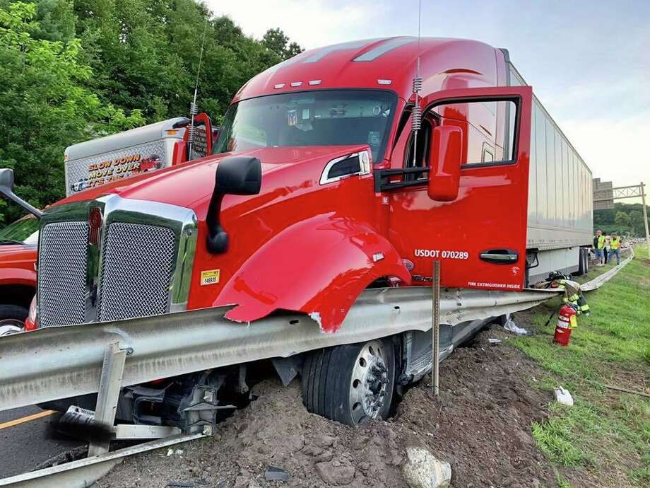 The crash happened on Route 8 south around 8 p.m. Tuesday, according to the state Department of Transportation. The tractor trailer crashed into the guardrail on the left-hand side of the highway between Exit 20 and Exit 19. Photo: Contributed Photo / Citizens' Engine Co. No. 2