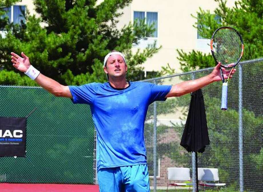 Tennys Sandgren celebrates his win in the singles championship at the Edwardsville Futures in 2016. Sandgren recently reached the round of 16 at Wimbledon.