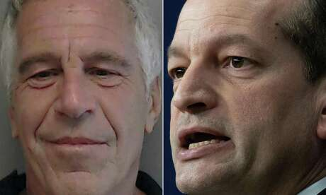 This combination of pictures created on July 10, 2019 shows a handout photo obtained courtesy of the Florida Department of Law Enforcement of Jeffrey Epstein (left) from a sexual Offender/Predator Flyer in July 25, 2013, and a file photo taken on Nov. 15, 2018 of U.S. Secretary of Labor Alexander Acosta at the White House in Washington, D.C.