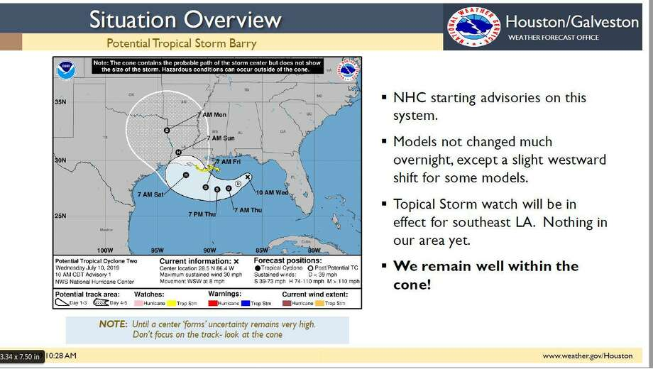 This National Weather Service map sent out Wednesday by officials with the NWS Houston-Galveston office shows a possible path for the storm. However, Meterologist in Charge Jeffry Evans said the system is still on an unknown path and could wind up striking the Houston region. Photo: Courtesy Images / Courtesy Images