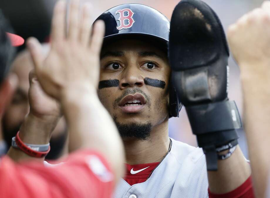 DETROIT, MI - JULY 6:  Mookie Betts #50 of the Boston Red Sox celebrates after scoring against the Detroit Tigers on a sacrifice fly hit by Rafael Devers during the first inning at Comerica Park on July 6, 2019 in Detroit, Michigan. (Photo by Duane Burleson/Getty Images) Photo: Duane Burleson, Getty Images