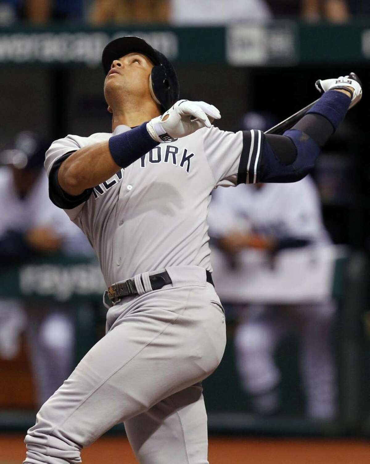 New York Yankees' Alex Rodriguez pops up in the sixth inning of a baseball game against the Tampa Bay Rays, Friday, July 30, 2010, in St. Petersburg, Fla. (AP Photo/Mike Carlson)