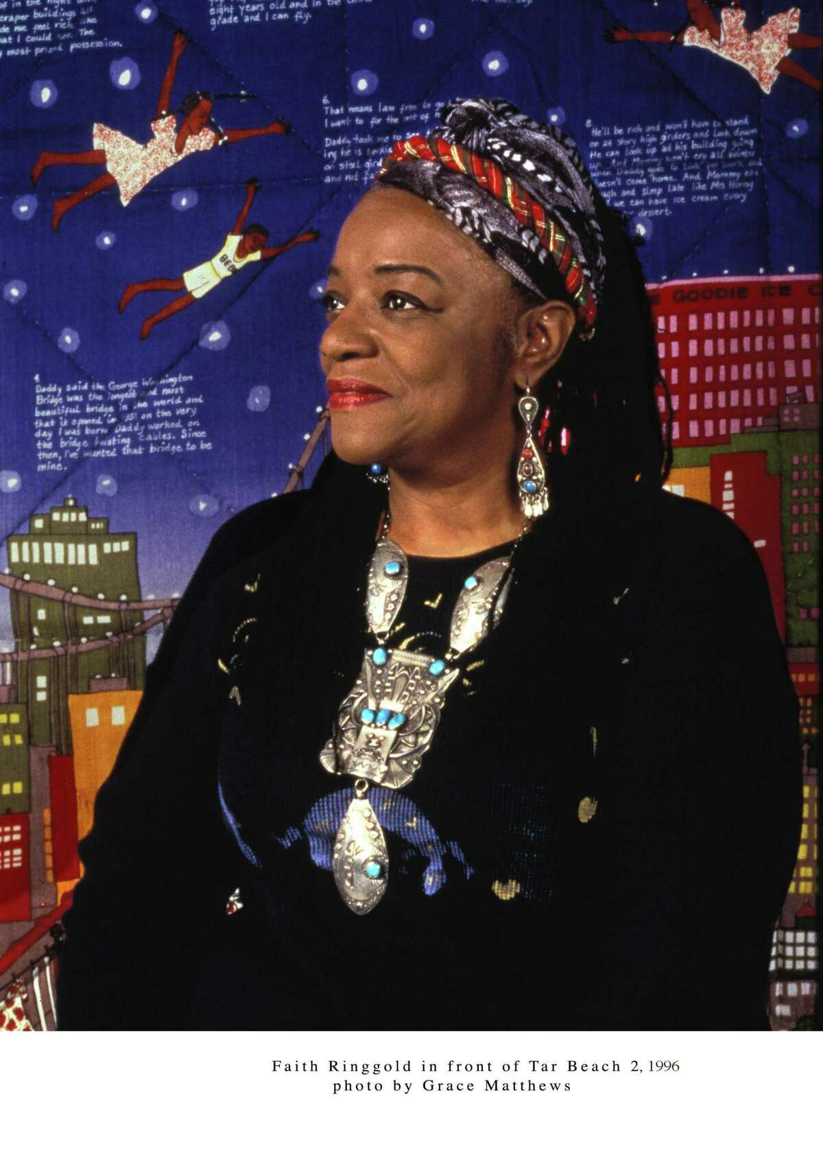 """Faith Ringgold, an artist known for confronting race relations in her work, will design new stained-glass windows for Grace Hopper College's common room. She is shown in front of her 1990 work """"Tar Beach #2."""""""