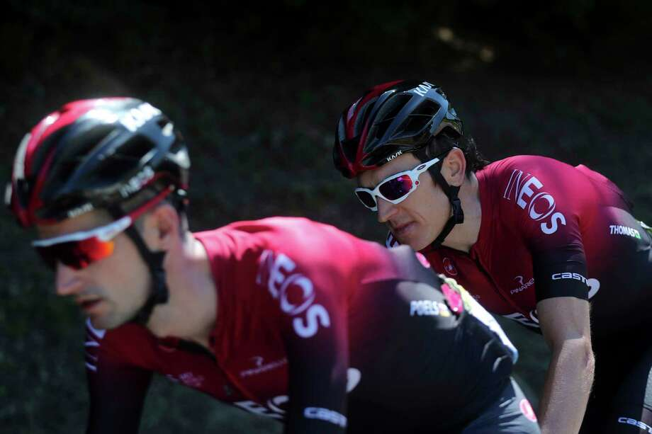 Britain's Geraint Thomas, right, and Netherlands' Wout Poels ride during the fifth stage of the Tour de France cycling race over 175.5 kilometers (109 miles) with start in Saint-Die-Des-Vosges and finish in Colmar, Wednesday, July 10, 2019. (AP Photo/Thibault Camus) Photo: Thibault Camus / Copyright 2019 The Associated Press. All rights reserved.