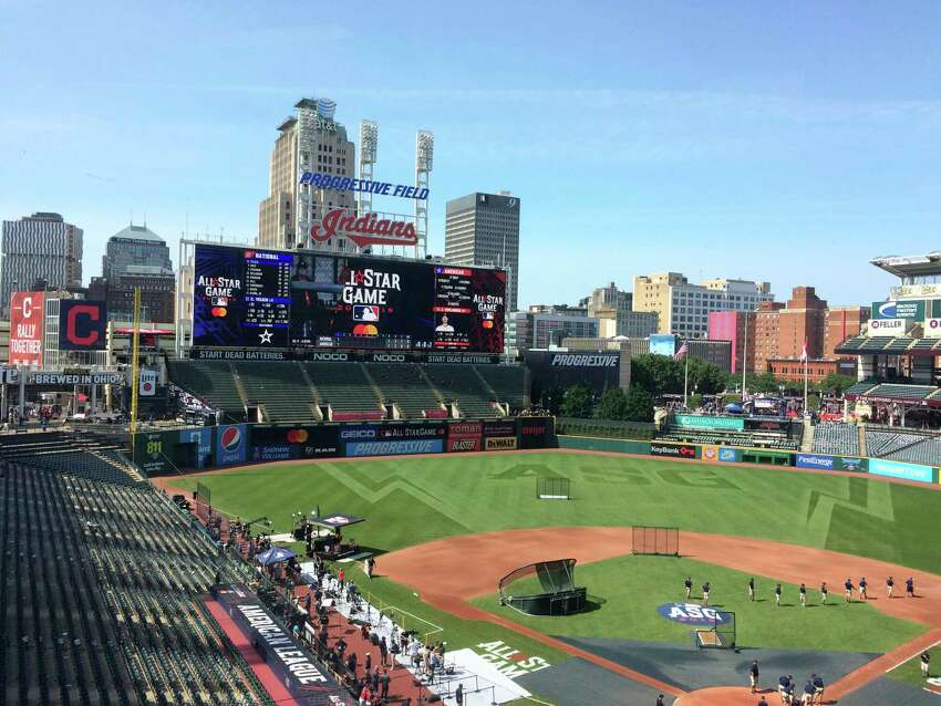 Stadium workers prepare Progressive Field for the Major League Baseball All-Star Game in Cleveland Tuesday, July 9, 2019. The biggest misplay of the night game might have been on the scoreboard. NL All-Stars David Dahl of Colorado and Willson Contreras of the Cubs had their names misspelled -