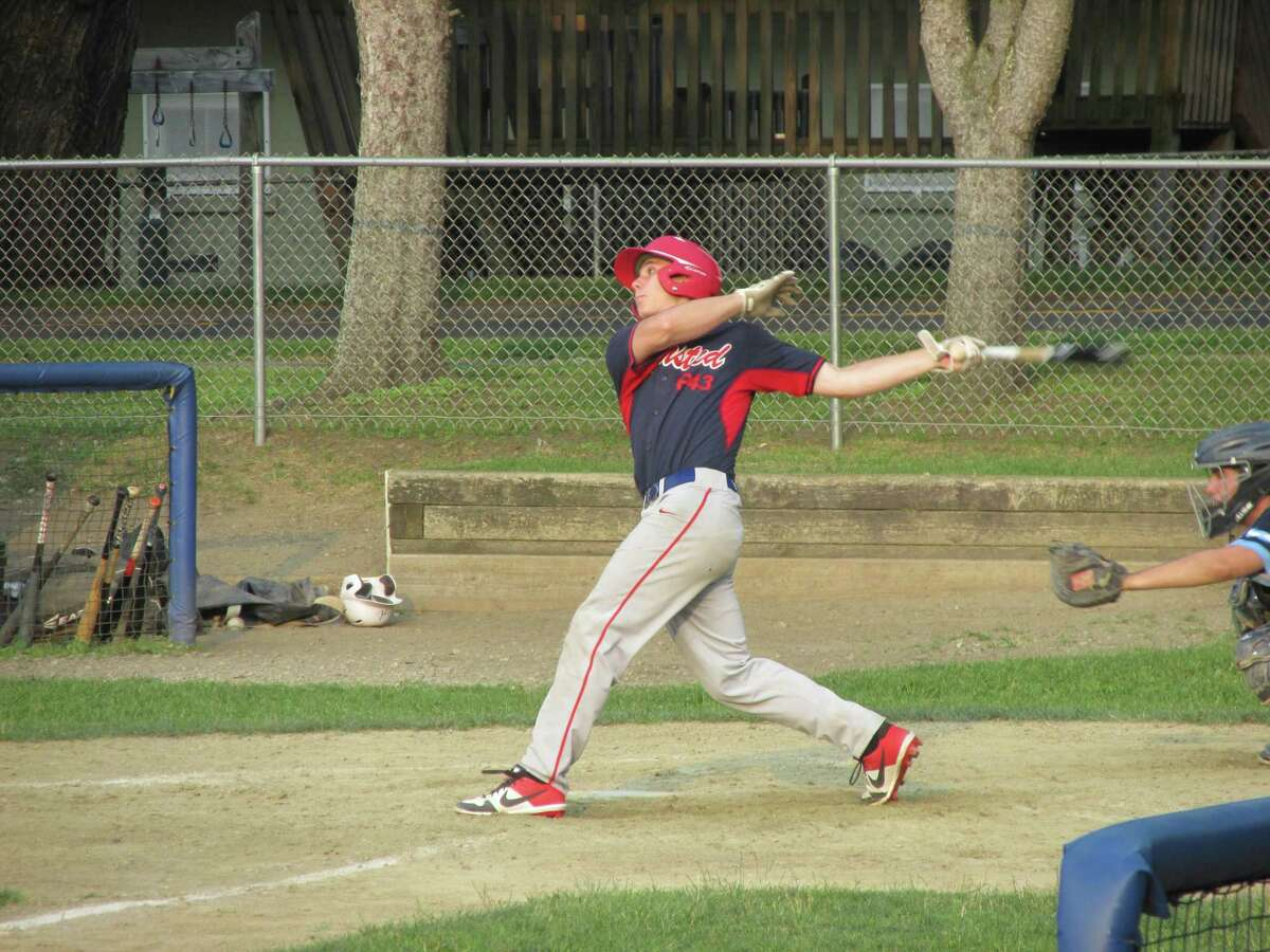 Rob Johnson hit a pair of triples for Winsted in Post 43's American Legion Baseball win Wednesday evening at Walker Field.