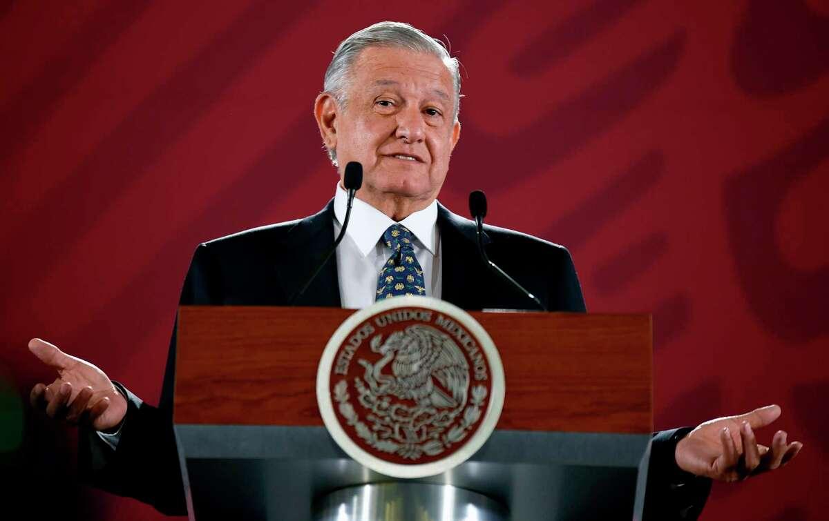 El presidente mexicano, Andrés Manuel López Obrador, durante una conferencia de prensa en el Palacio Nacional en la Ciudad de México el 10 de julio de 2019.