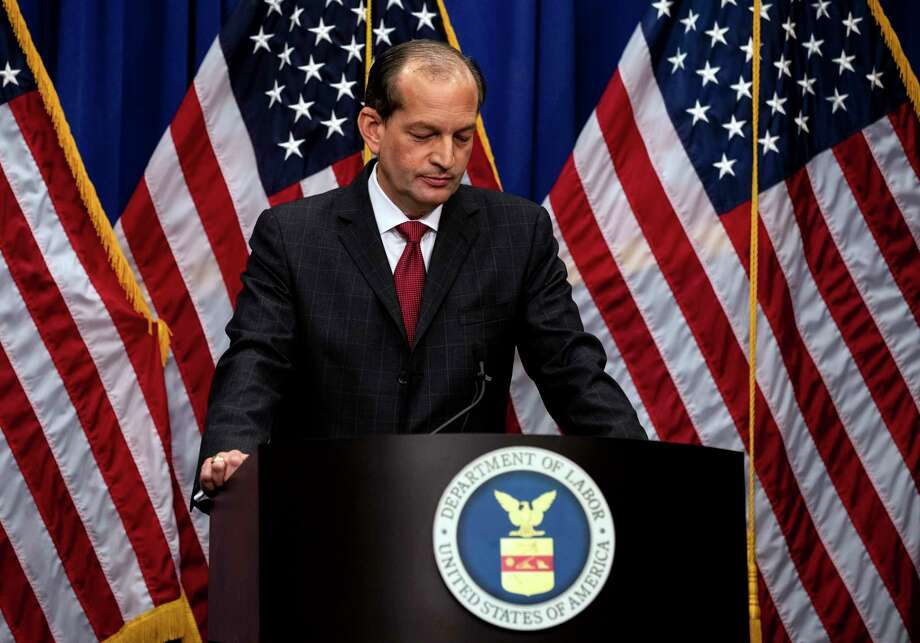 Labor Secretary Alex Acosta looks down while speaking to reporters in Washington on Wednesday, July 10, 2019. Acosta publicly defended his role in overseeing the prosecution of Jeffrey Epstein on sex crimes charges in Florida over a decade ago, bucking a growing chorus of Democratic calls for his resignation.  (Anna Moneymaker/The New York Times) Photo: ANNA MONEYMAKER / NYTNS