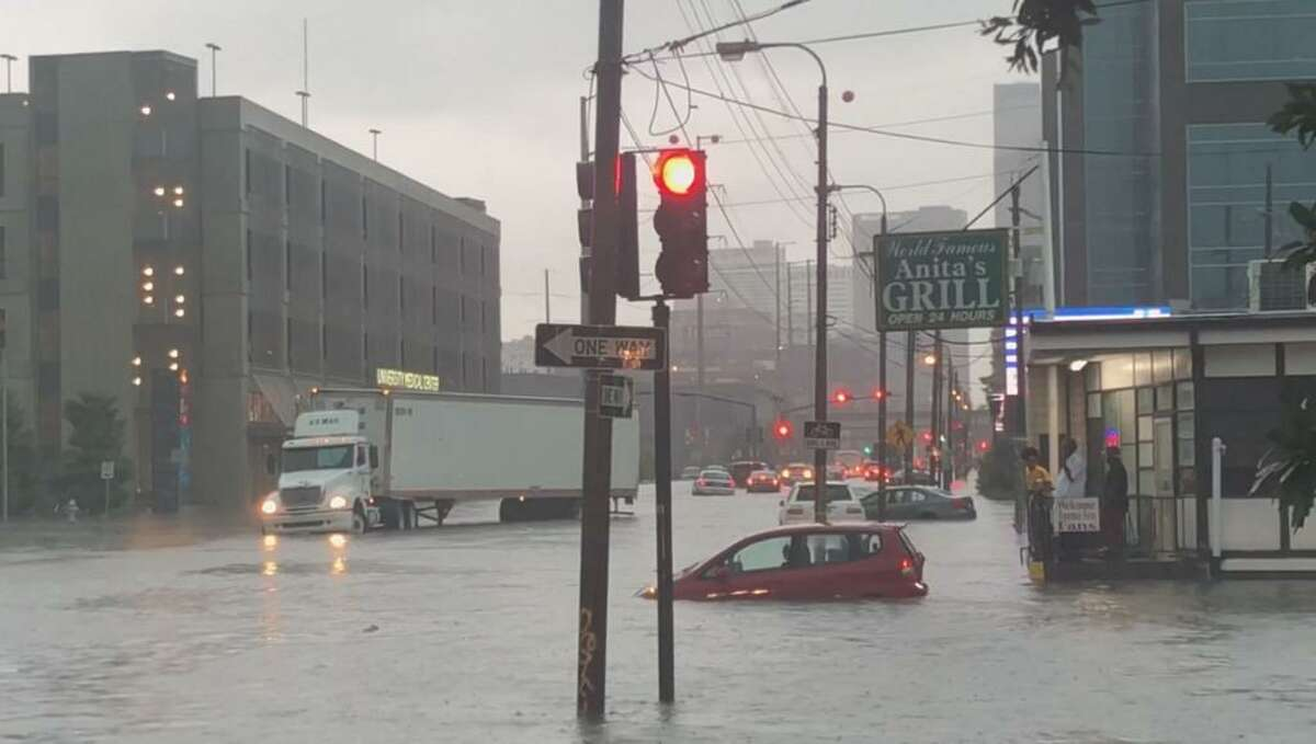 Street flooding on Tulane Avenue in New Orleans, July 10, 2019.