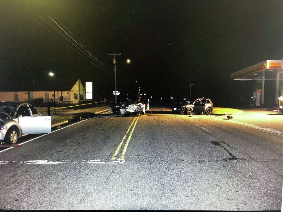 A three-car crash Wednesday night sent three people - one with life-threatening injuries - to the hospital. Photo: Contributed Photo / Torrington Police Department