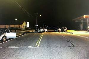 A three-car crash Wednesday night sent three people - one with life-threatening injuries - to the hospital.