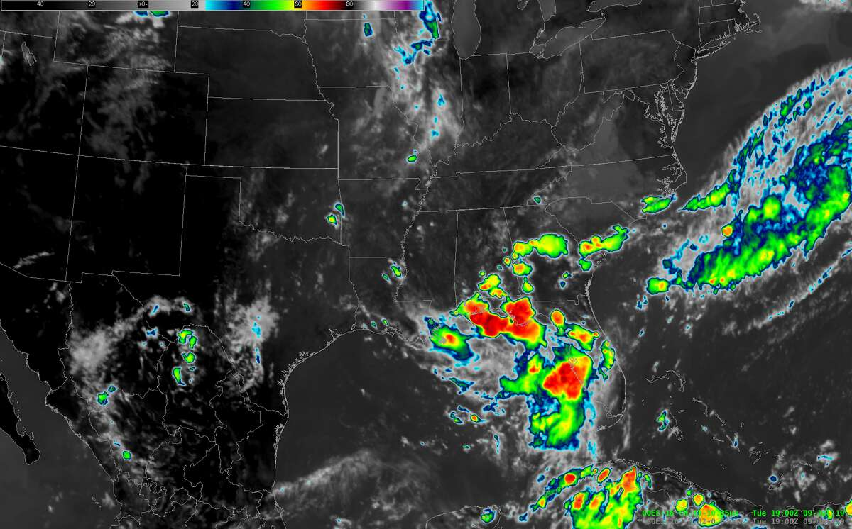 Satellite images from the National Weather Service show the storm as of 2 p.m. Tuesday, July 9. The red colors indicate colder cloud temperatures. That means the clouds are higher in the atmosphere, which indicates thunderstorms. >>> See more satellite images in the following gallery.