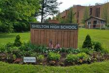 The garden at Shelton High School, recently redesigned by member of the Olde Ripton Garden Club.