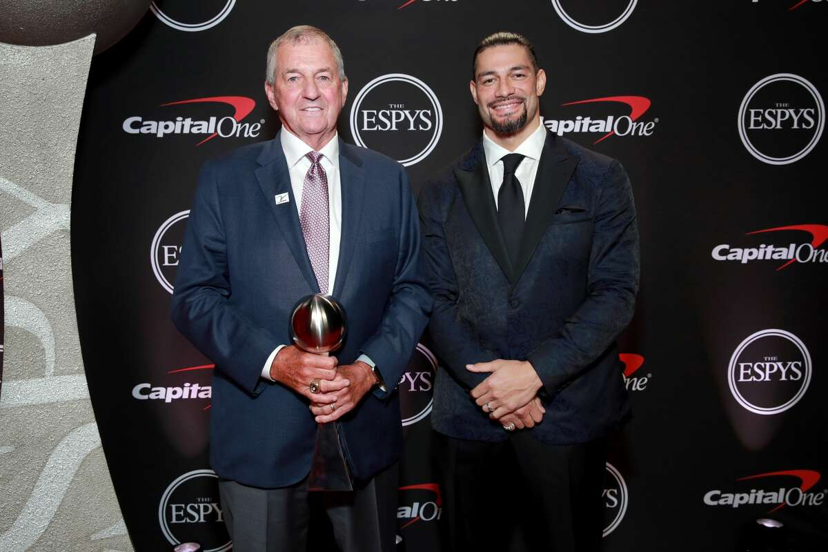 ESPY Award recipient for Best Coach Jim Calhoun and Roman Reigns attend The 2019 ESPYs at Microsoft Theater on July 10, 2019 in Los Angeles, California. (Photo by Rich Fury/Getty Images)