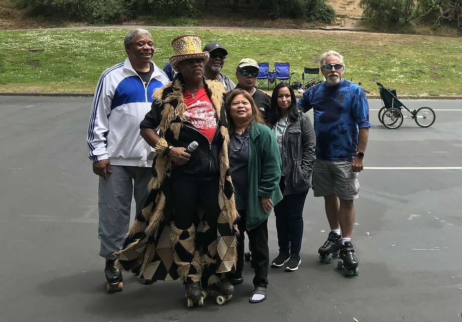 July 7, 2019: Members of the original Skate Patrol gather at the Skatin' Place in Golden Gate Park. Photo: Peter Hartlaub / The Chronicle