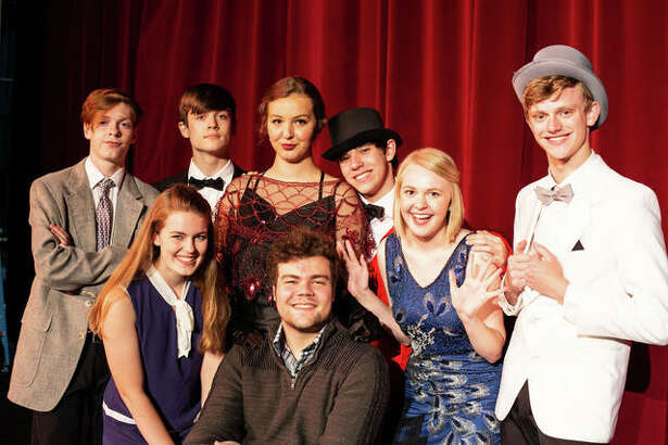 "Alaina Bozarth (as Janet), front row, from left, Jayson Heil (Man in Chair), Shelby Oertel (Kitty), Gabe Levi (Robert), and back row, Austin Turnbull (George), Lorian Warford (underling), Audrey Neace (The Drowsy Dhaperone), and Garrett Cooper (Feldzieg) will appear in ""The Drowsy Chaperone,"" July 19, 20, 21 in the Alton High School auditorium."