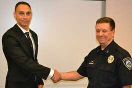 Officer Bryce Brown, left, and Chief Ray Osborne