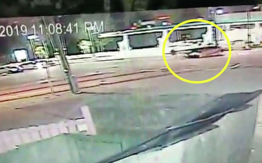 Dramatic surveillance video shows a pedestrian thrown into the air after being struck by a car in north Houston on May 22, 2019. Photo: Houston Crime Stoppers