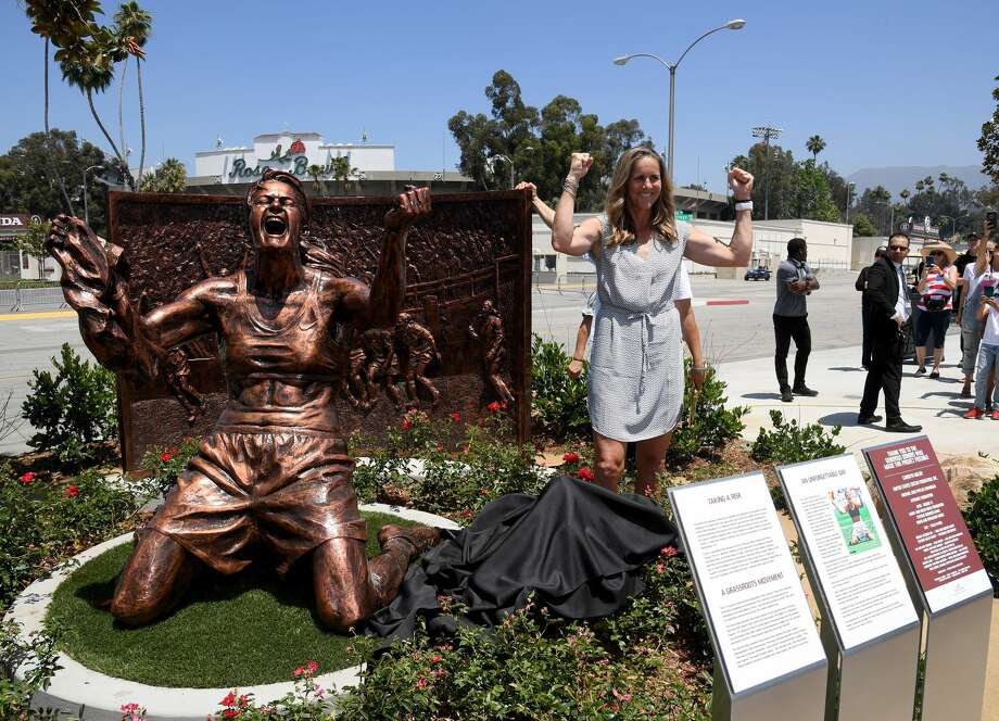 Brandi Chastain poses with statue of herself during an unveiling of a statue honoring the United States win at 1999 Women's World Cup on July 10, 2019 at the Rose Bowl in Pasadena, California. (Photo by Harry How/Getty Images) Photo: Harry How/Getty Images