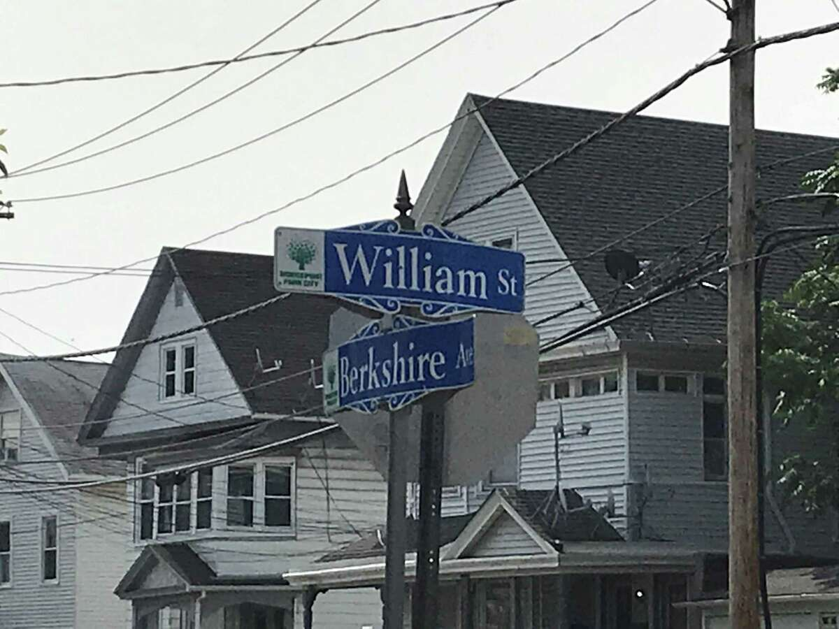 A correct sign stands just a block away at the intersection of William and Berkshire streets.