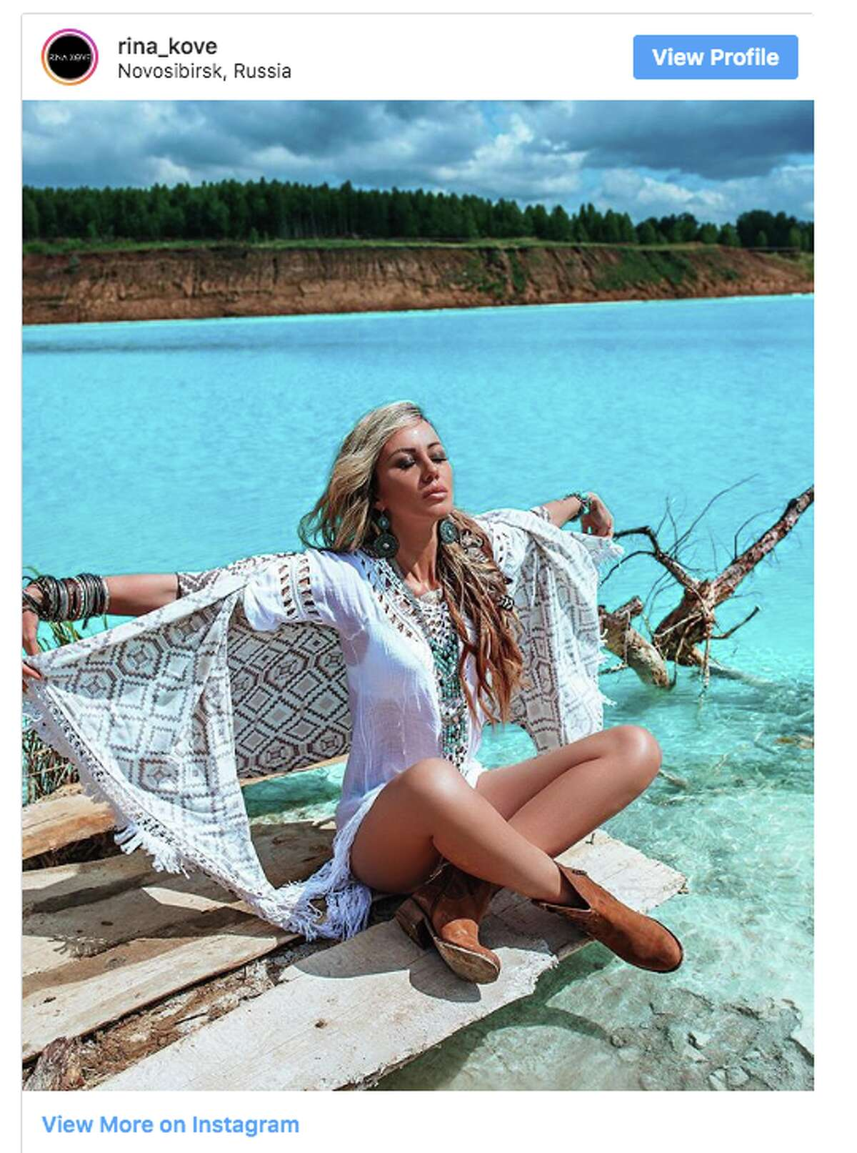 Instagrammers' photos of themselves on the man-made lake near Novosibirsk, Siberia, don't always reveal the cause of its vibrant color. The lake serves as an