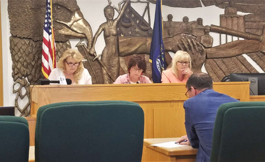 The Midland County Election Commission, which consists of County Treasurer Cathy Lunsford, Probate Judge Dorene Allen and County Clerk Ann Manary (left to right) met to discuss the clarity of the language contained in a recall petition for Midland Councilman Marty Wazbinski on Thursday, July 11, 2019 at the Midland County Courthouse. (Ashley Schafer/ashley.schafer@hearstnp.com) Photo: Ashley Schafer