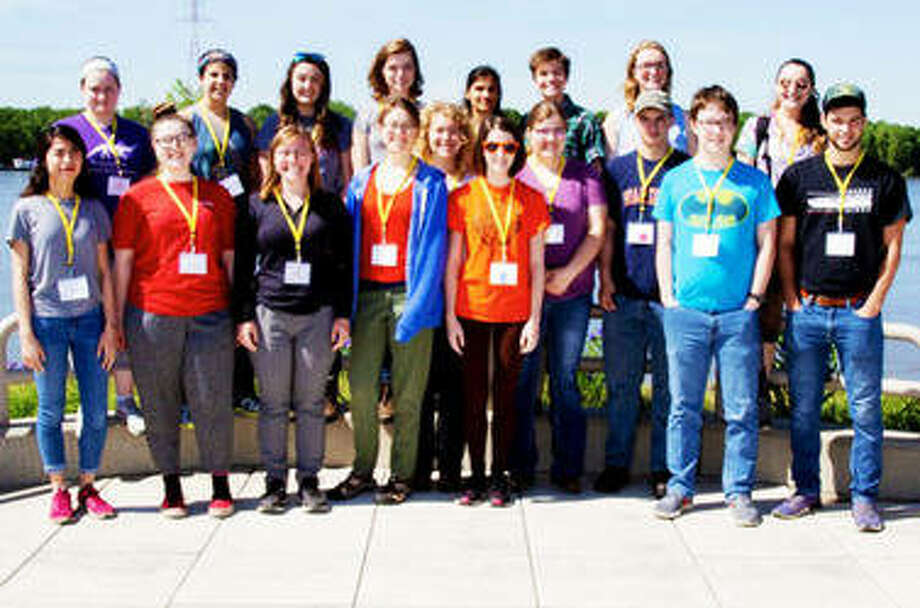 NGRREC interns gather on the green roof of the Jerry F. Costello Confluence Field Station in East Alton, Illinois, for a group photo overlooking the Mississippi River. Photo by Louise Jett, L&C Media Services