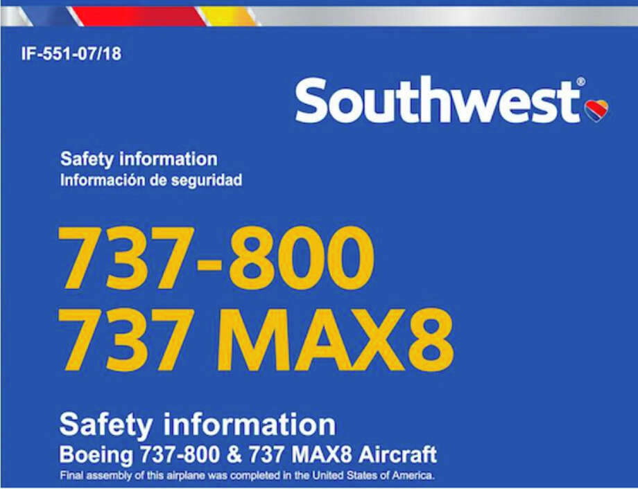 Southwest has replaced seatback safety cards that cover both the 737-800 and 737 MAX 8. Photo: Southwest