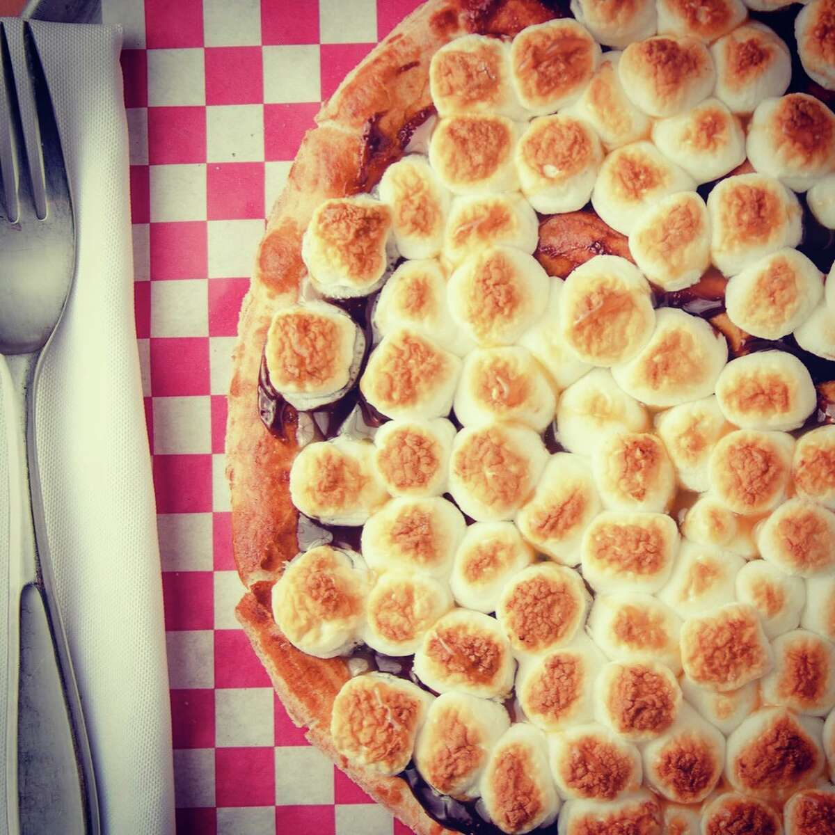 Marshmallow pizza is one of La Famiglia's specialty desserts.
