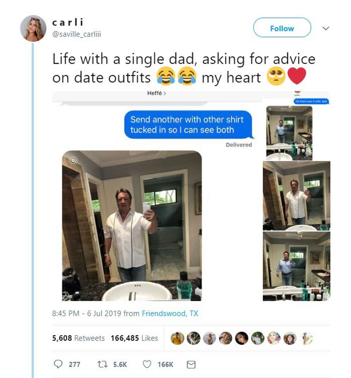 The day Carli Saville of Friendswood made a viral post about her dad asking for dating advice, he got stood up. Now, thousands of people have reached out to the father of four to show love and support.