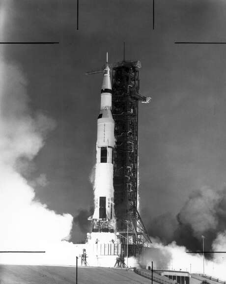 The Saturn V launch vehicle, developed by the Marshall Space Flight Center (MSFC) under the direction of Dr. Wernher von Braun, lifts off from the Kennedy Space Center (KSC), Florida carrying the Apollo 11 spacecraft and crew. The massive rocket hurled the spacecraft into Earth orbit and then onto the trajectory to the Moon. Apollo 11, the first manned lunar mission, launched from KSC on July 16, 1969. Aboard were astronauts Neil A. Armstrong, commander; Michael Collins, Command Module (CM) pilot; and Edwin E. Aldrin Jr., Lunar Module (LM) pilot. Photo: Credit: NASA