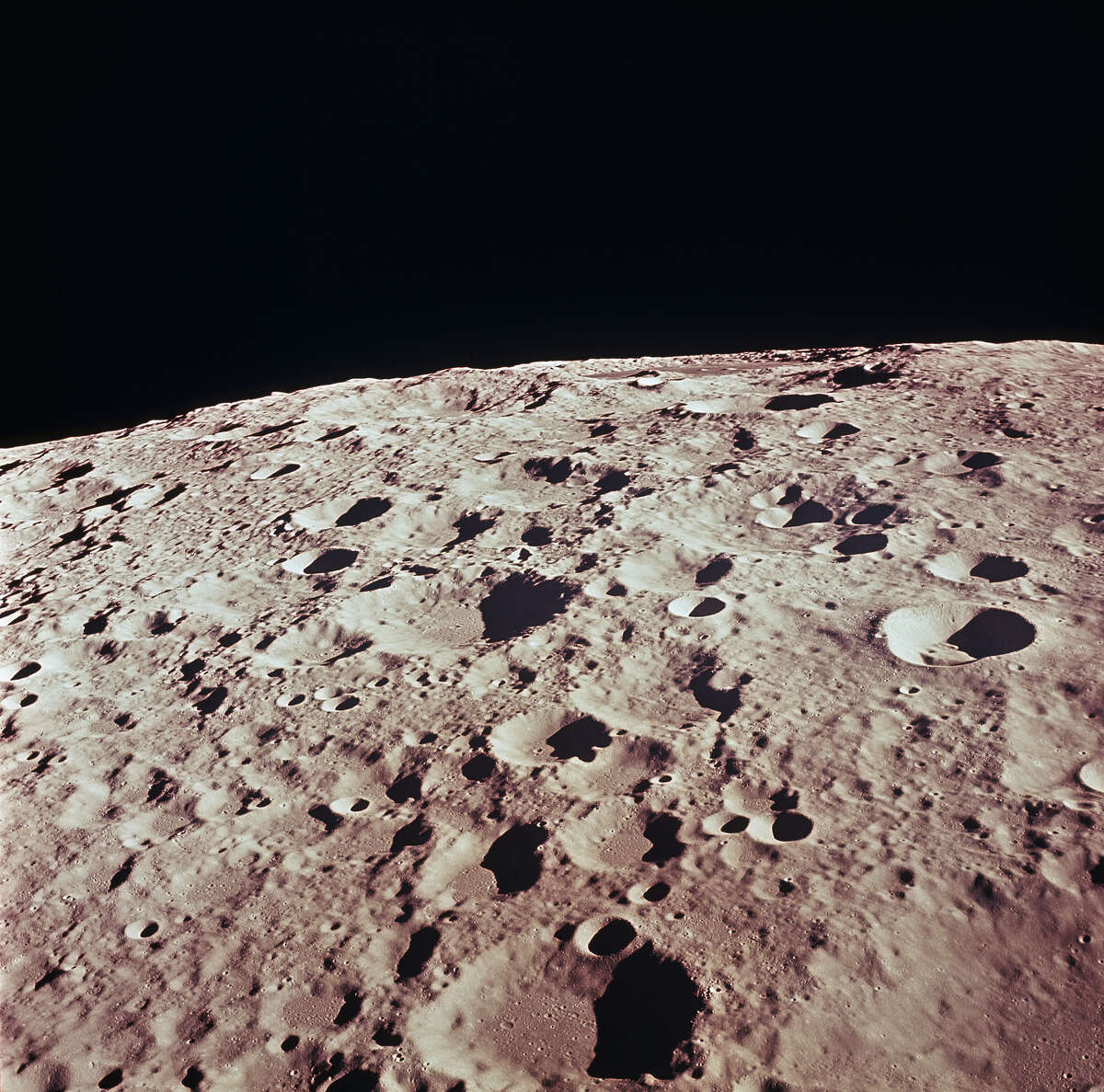 This is a detailed view of the back side of Moon in the vicinity of Crater No. 308 taken during the Apollo 11 mission. Apollo 11, the first manned lunar mission, launched from The Kennedy Space Center, Florida via a Saturn V launch vehicle on July 16, 1969. The 3-man crew aboard the flight consisted of Neil A. Armstrong, commander; Michael Collins, Command Module pilot; and Edwin E. Aldrin Jr., Lunar Module pilot. The Lunar Module (LM), named