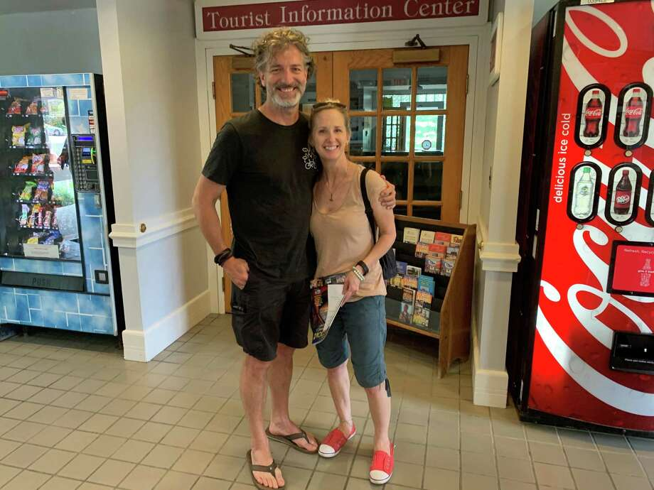 Peter and Kathy Rupcic, of Hamilton, Ontario, Canada, stopped at the Welcome Center on Interstate-84 in Danbury Wednesday morning on their way to an Airbnb in Bridgeport after three days in the Catskills. They were looking for a map, but the Tourist Information Center was closed. Photo: Jacqueline Smith / Hearst Connecticut Media