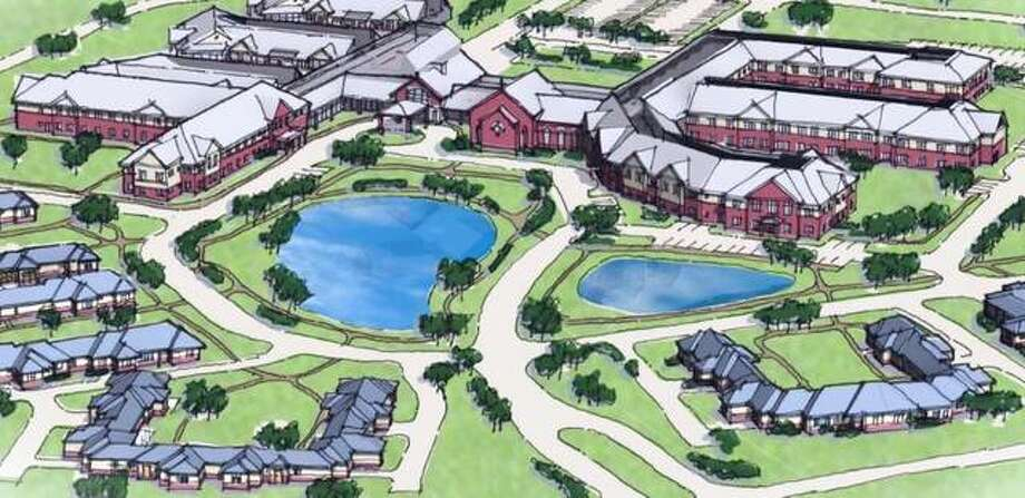 This architect's rendering shows the 55-acre Divine Mercy Senior Living Community planned in Glen Carbon. The $50 million development would include 100 independent living apartments, 35 memory care units, 35 assisted living units and 54 single family homes. Construction could begin this fall; developers are seeking financing using Commercial Property-Assessed Clean Energy bonding.
