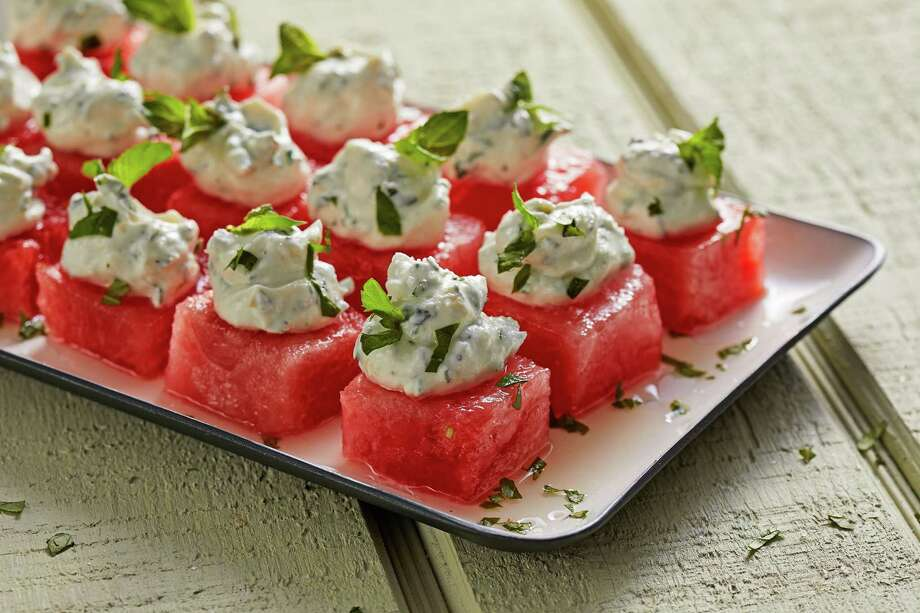 Watermelon With Herbed Goat Cheese Whip. Photo: Photo By Tom McCorkle For The Washington Post. / For The Washington Post