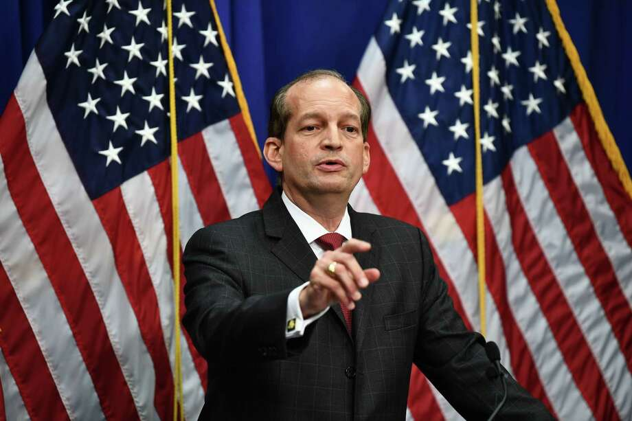 Labor Secretary Alexander Acosta holds a press conference Wednesday to defend his role in a secret plea deal  made a decade ago with Jeffrey Epstein, a wealthy hedge fund manager accused of sexually abusing young girls. Acosta was serving as a federal prosecutor at the time. Photo: Brendan Smialowski /Getty Images / AFP or licensors