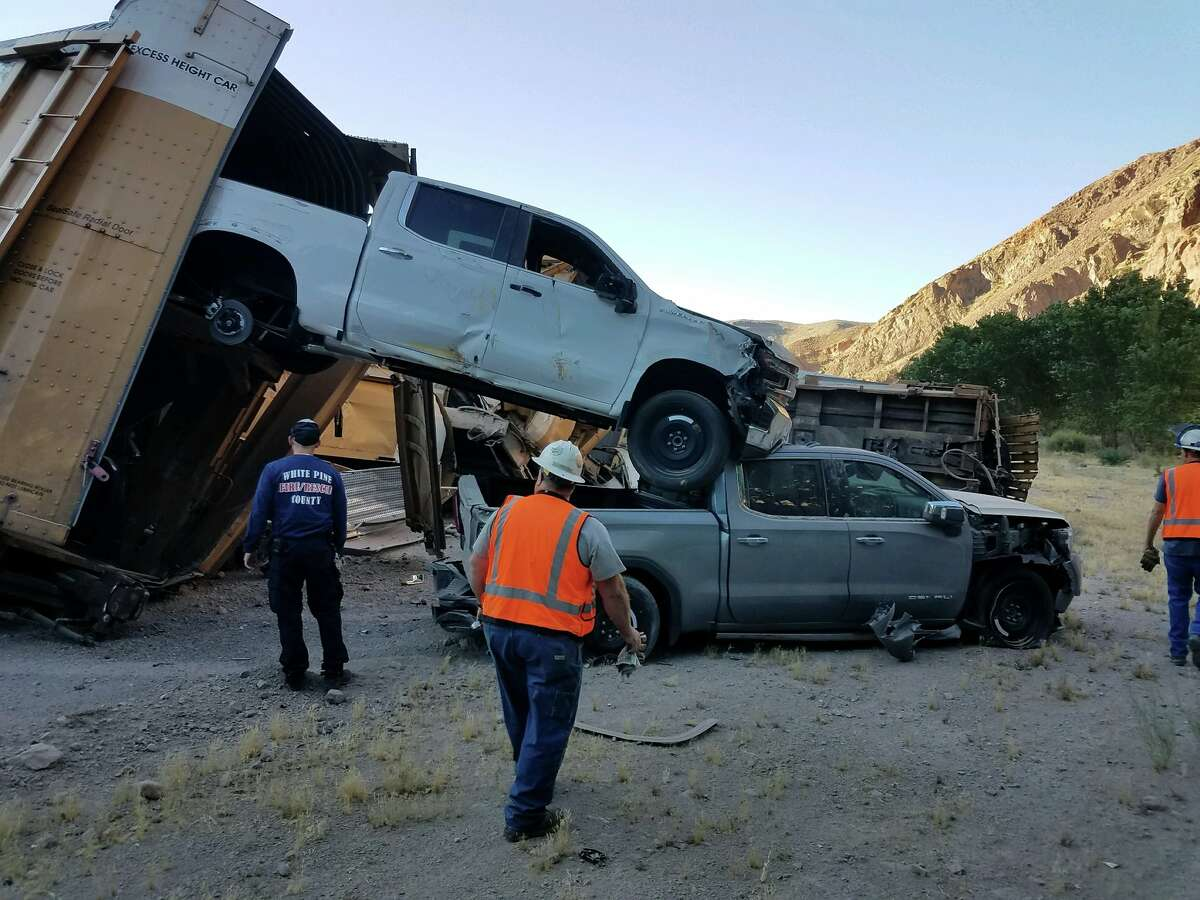 A train carrying brand new Jeep Wranglers and pickup trucks derailed in Lincoln County, Nevada.
