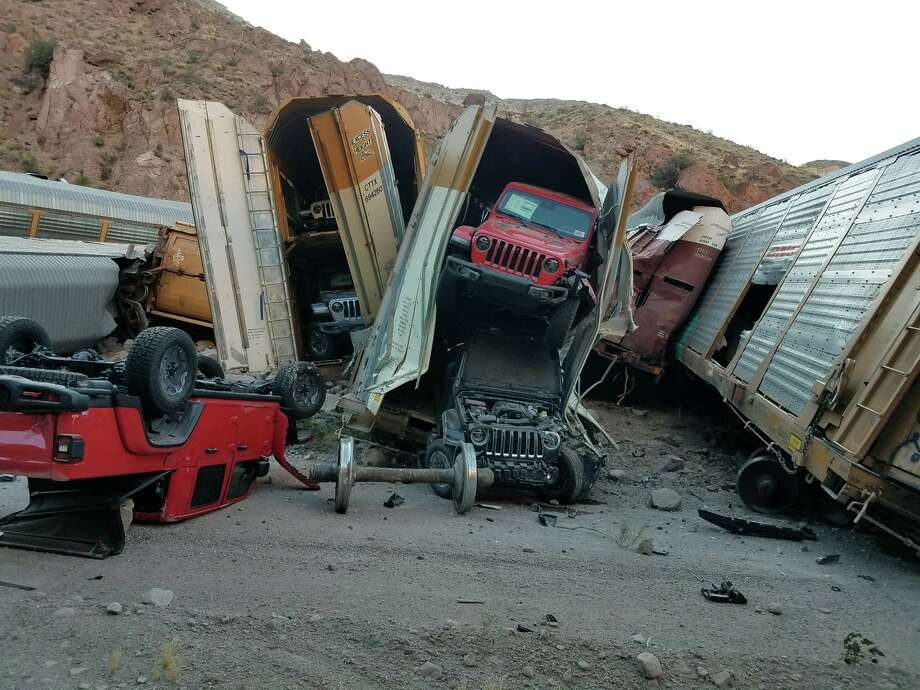 A train carrying brand new Jeep Wranglers and pickup trucks derailed in Lincoln County, Nevada. Photo: Lincoln County Sheriff's Office