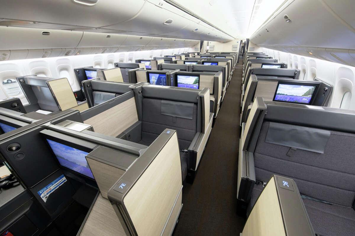 The new 777-300ER business class seats alternate between forward- and backward-facing.