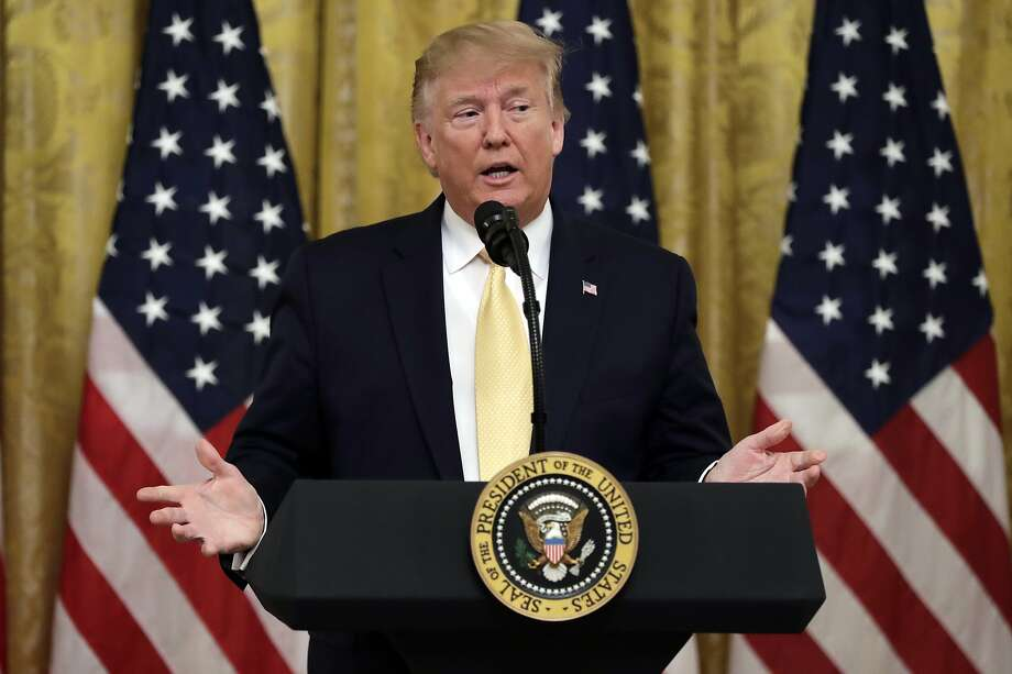 """President Donald Trump speaks during the """"Presidential Social Media Summit"""" in the East Room of the White House, Thursday, July 11, 2019, in Washington. (AP Photo/Evan Vucci) Photo: Evan Vucci / Associated Press"""