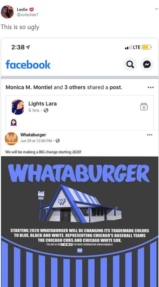 A photo circulating social media platforms shows the A-frame restaurant basked in blue and white stripes, for Chicago, where BDT Capital Partners, the bank that bought majority stake in June, is based. Photo: Twitter Screengrab
