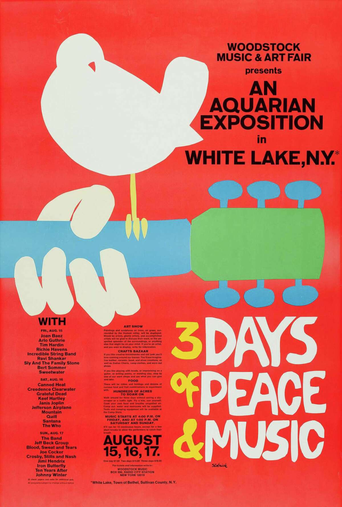 Arnold Skolnick, Concert poster for the Woodstock festival, August 1969. 'WOODSTOCK' and the Dove & Guitar Logo are registered trademarks of Woodstock Ventures LC and are used under license.