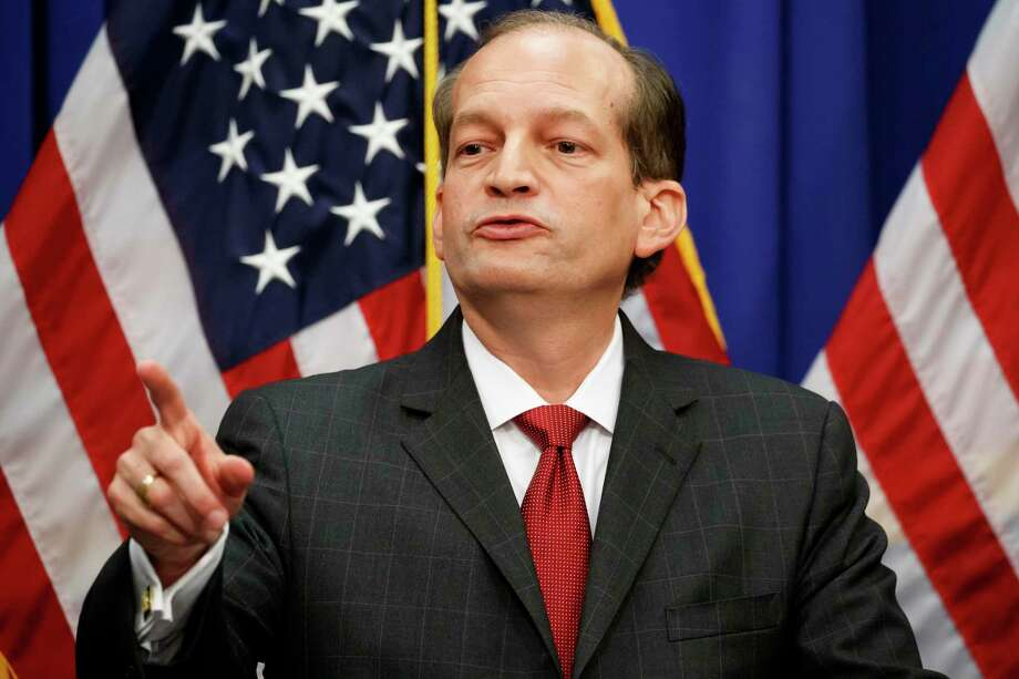 Labor Secretary Alex Acosta points to a question during a news conference at the Department of Labor, Wednesday, July 10, 2019, in Washington. (AP Photo/Alex Brandon) Photo: Alex Brandon, STF / Associated Press / Copyright 2019 The Associated Press. All rights reserved.