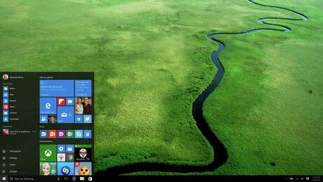 Windows 10 desktop Start menu. Windows 10 releases July 29.
