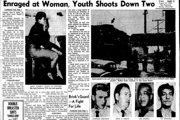 The Chronicle August 16, 1959 front page, reporting on shootings by sniper, Thomas Antonio Gutierrez