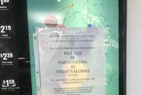 A sign on a Slurpee machine in a Berkeley 7-Eleven at College Avenue and Russell Street says that none of the Berkeley locations of the franchise are participating in Free Slurpee Day.