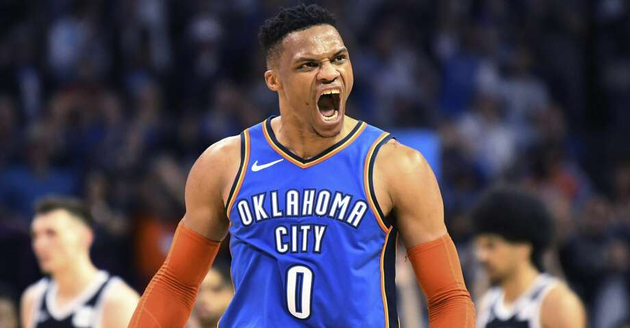 Oklahoma City Thunder guard Russell Westbrook (0) celebrates after a 3 point shot during the second half of the team's NBA basketball game against the Brooklyn Nets on Wednesday, March 13, 2019, in Oklahoma City. (AP Photo/June Frantz Hunt) Photo: June Frantz Hunt/Associated Press