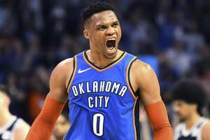 Oklahoma City Thunder guard Russell Westbrook (0) celebrates after a 3 point shot during the second half of the team's NBA basketball game against the Brooklyn Nets on Wednesday, March 13, 2019, in Oklahoma City. (AP Photo/June Frantz Hunt)